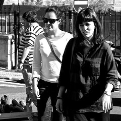 Two tourists girls shopping (pedrosimoes7) Tags: shopping feiradaladra marchéauxpuces tourists tourism turistas girls street streetpassionaward streetimages streetshot blackandwhite blackwhite blackandwhiteonly largodesantaclara alfama lisbon portugal