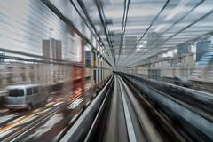 Odaiba monorail, Tokyo (view full-screen) (Piotr_Lewandowski) Tags: city urban blur japan tokyo movement cityscape blurred odaiba yurikamome japanese asia slowshutter nippon train happyplanet asiafavorites