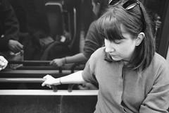 Pensive (phl3prtn) Tags: xpro2 fujifilm fujix fuji xf23f2 35mm nb noiretblanc bw blackandwhite portrait woman femme brune reflets reflects rayban acros