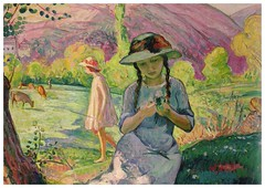 girl picking flowers from Silvia1959 (elligerra) Tags: henrilebasque young girl nature flowers woman portrait picture drawing multicolor summer postcrossing postcard