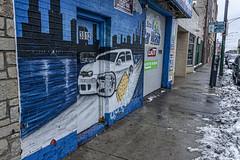 (jfre81) Tags: chicago avondale belmont gardens pulaski road car wash mural art wall garage storefront sidewalk snow ice slush winter cold street 312 windy second city urban james fremont photography jfre81 canon rebel xs eos