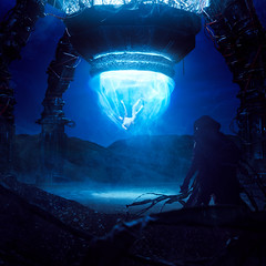 Arrival Through Time (KristjanJ) Tags: dark darkness mysterious mystic portal conceptual concept composite composit shadow traveller futuristic futu scifi
