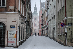 Winter of March 2013. Poznan. (ewitsoe) Tags: winter street zima cold snow snowing 2013 march people trams cityscape buriedinsnow nikon ewitsoe cinematic earlymorning walk citylife pedestrians frozen colder poland europe 35mm urbanlife city