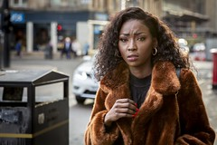 Disquiet (Leanne Boulton) Tags: urban street candid portrait portraiture streetphotography candidstreetphotography candidportrait streetportrait eyecontact candideyecontact streetlife woman female girl face eyes expression mood emotion feeling fur coat style fashion hair stylish beauty beautiful tone texture detail depthoffield bokeh naturallight outdoor light shade city scene human life living humanity society culture lifestyle people canon canon5dmkiii 70mm ef2470mmf28liiusm colour glasgow scotland uk