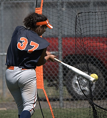 Batting Practice (Scott 97006) Tags: sport bat softball woman female practice net ball