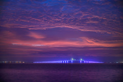 Pre-dawn clouds over the illuminated Sunshine Skyway Bridge, Fort De Soto Park, St. Petersburg - Florida (diana_robinson) Tags: sunrisedawn sunshineskywaybridge fortdesotopark stpetersburgflorida floridausstate landscapescenery outdoors gulfofmexico gulfcoast water cloudscape lightsonbridge illuminated illumination abigfave
