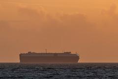 Sunset transporter (Bridgetony) Tags: sussex blue coastline hazy horizon orange ship