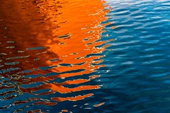 Orange & Blue (Karen_Chappell) Tags: orange blue water harbour ocean sea atlantic ship reflection abstract ripples reflections stjohns newfoundland nfld canada eastcoast atlanticcanada avalonpeninsula boat marine colour color colors colours colourful canonef24105mmf4lisusm