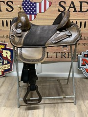 11179 (sportssaddlesalem) Tags: wrangler border tooled chocolate suede embroidered horse heads embroidery antique black corner cut 46 braided horn bh laser etched basket weave jwatt ds accent jwatts
