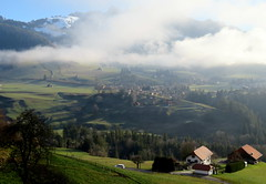 Charmey in the mists (oobwoodman) Tags: switzerland suisse schweiz charmey fribourg alps alpen alpes mountains berge montagne fog brouillard nebel landscape landschaft paysage