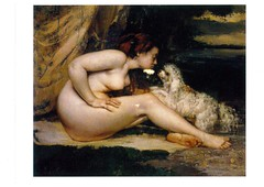 nude woman with dog from LarryHidingHawk (elligerra) Tags: gustavecourbet nude woman dog picture drawing body femalebody postcrossing postcard