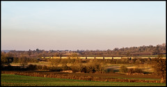 Wistow (Peter Leigh50) Tags: golden hour sunshine leicestershire landscape landschaft freight freightliner fujifilm fuji field farmland farm xt2 cement tanks road railway railroad rail rural countryside train trees track village class 66 shed winter january