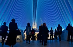 The descend - Oculus, New York City (Andreas Komodromos) Tags: andreaskomodromos architecture art artistic blue city cityscape couple design evening geometric hub linear lines lowermanhattan manhattan modern moody newyork newyorkcity night nightscape ny nyandreas nyc oculus pavement people portfolio santiagocalatrava sidewalk silhouette steel subway train transportation urban usa window worldtradecenter wtc