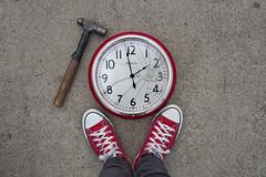 Wish I could...Stop time (YetAnotherLisa) Tags: time stoppingtime hammer red chucks comverse lookingdown atmyfeet 52weeks2020edition 100x clock
