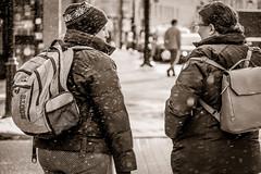 Winter day discussions. (Kat Hatt) Tags: snow twowomen kingston kathatt bw talking backpacks downtown canada