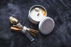 vibes (viewsfromthe519) Tags: relax vibes positive bokeh bed blanket cosy cozy comfy candle flower dried palosanto