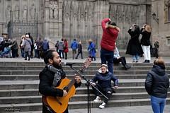 Cantant al carrer. (AviAntonio) Tags: músic cantant catedral gent turistes músico gente turistas barcelona