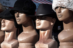 The Anxiety Stare [20/366 2020] (_ _skdotcom_ _) Tags: head mannequin hat bonnet cap norwich market stall disembodied