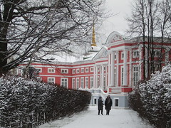 a nice walk in winter (VERUSHKA4) Tags: canon europe russia moscow ville city vue view hiver winter season cold people way tree snow neve building architecture museum walk park bush path two day perspective angle window decor bellhouse column january white pink snowfall branch palace kuskovo astoundingimage