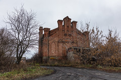Abandoned Church. (Oleg.A) Tags: ancient autumn penzaregion historic church nature orange tree twilight design wall village ruined shadow building cathedral cloudy brick outdoor evening town clouds exterior old grass destroyed landscape russia overcast skyscape countryside rain orthodox architecture catedral fall landscapes vladykinsky penzaoblast