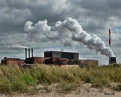 Derrière la dune (DOMVILL) Tags: beach domvill dune dunkerque fumée industriel landscape nuages paysage plage usine wwwflickrcompeoplevildom
