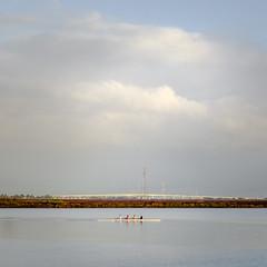 crossing the bay (bgwashburn) Tags: san francisco bay crew rowing boat clouds sunrise redwood city harbor