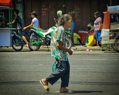 In a Hurry (Beegee49) Tags: street people woman elderly rushing happy planet sony a6000 bacolod city philippines asia
