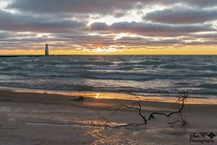 Closing out Monday (SueFi Photography) Tags: frankfort lakemichigan sunset driftwood clouds beach sand waves