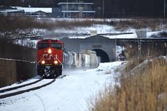 Drifting Snow (AmtrakGuy365) Tags: cn train trains railroad railway snow winter michigan railfanning tunnel port huron track tracks manifest railfan gevo