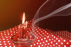 The Mood is Red,8/100X (clarkcg photography) Tags: red crazytuesday tablecloth candle candleholder light smoke stream swirl 2020x 100xthe2020edition 100x2020 image8100
