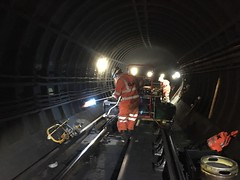 South Ken Rail weld 20-01-15 (3) (Funny Cyclist) Tags: london underground southkensington train tube rail weld dark tunnel