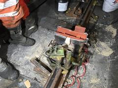 South Ken Rail weld 20-01-15 (2) (Funny Cyclist) Tags: london underground southkensington train tube rail weld dark tunnel