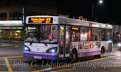 Last night in service at First Essex (Hadleigh) for its penultimate Dart, ex-First Potteries TransBus Dart / Caetano Nimbus 41522, LK03 UEZ (EastBeach68) Tags: firstessex firstbus firstgroup firstinessex firstbusesinsouthend transbusdart dart caetanonimbus caetano firstessexhadleigh 41522 lk03uez