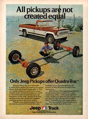 1974 Jeep Pickup Truck With Quad-Trac American Motors AMC USA Original Magazine Advertisement (Darren Marlow) Tags: 1 4 7 9 19 74 1974 j jeep p pick u up t truck q quad trac a m c amc american motors car cool collectible collectors classic automobile v vehicle s us usa united states america 70s