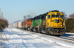 BNSF 3167 (Jonah Arndt) Tags: bnsf santa fe gp50 emd bn burlington northern snow sky sun tracks train locomotive power poles trees rocks