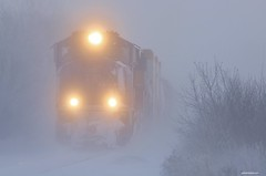 Foggy Torch Relay - Glenville, MN (MinnKota Railfan) Tags: rail railroad engine loco locomotive train union pacific up 2001 olympic torch unit relay sd70m albert lea minnesota sub subdivision fog snow winter