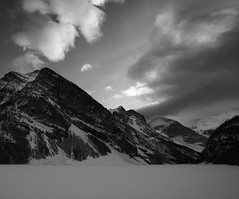 Only the Echo of Lake Louise (k.cluchey) Tags: lake louise canada alberta banff icefields parkway water snow mountains rockies canadian rocky mountain sun sunset golden hour goldenhour sky light lighting national park parks black white blackandwhite bnw bw monochrome nikon d750 20mm f18 nikkor 2019 blackwhite