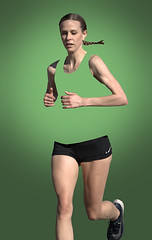 Camouflage (Scott 97006) Tags: runner woman female blonde lady sport race green
