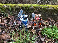Judgement and Khaos (Armored Toa) Tags: lego bionicle gen2 skull solider elite royal guard greatsword lightning greataxe fire crimson gold sapphire thunder greathammer custom moc painted silver