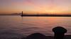 Thessaloniki - port sunset, breakwater Mt Olympus