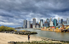 Find your Beach - Brooklyn, NYC (TravelsWithDan) Tags: findyourbeach sand water beach eastriver pier4beach brooklyn nyc newyork woman candid cloudysky winter mobilephonephoto samsunggalaxys10 ngc