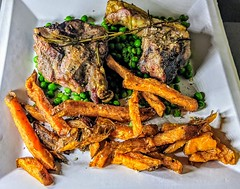 Salt Dry-Aged Lamb Chops with Sweet Potato Fries and Peas (Tony Worrall) Tags: photos photograff things uk england food foodie grub eat eaten taste tasty cook cooked iatethis foodporn foodpictures picturesoffood dish dishes menu plate plated made ingrediants nice flavour foodophile x yummy make tasted meal nutritional freshtaste foodstuff cuisine nourishment nutriments provisions ration refreshment store sustenance fare foodstuffs meals snacks bites chow cookery diet eatable fodder ilobsterit instagram forsale sell buy cost salt dryaged lamb chops sweet potato fries peas meat