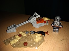 Do you see him? xD (dentablend) Tags: custom lego star wars the mandalorian bounty hunter speeder bike baby yoda rifle minifigure