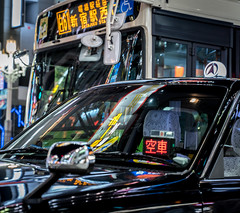 the Traffic of Shinjuku (camperrin) Tags: tokyo shibuya traffic night lights car asia colour reflection city shinjuku sign new street streetphotography sony sonyalpha sonya7iii taxi bus transport