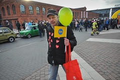 man with flag (rafasmm) Tags: all good people great orchestra christmas charity wośp volunteers action original street streetphoto streetlife streetphotography streetscene streetportrait streethunters streets portrait heart łódź lodz poland polska europe outdoor town walk color nikon d90 dx sigma 1020 ex man flag balloon