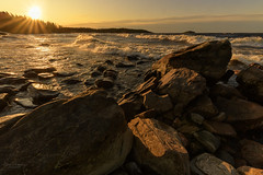 Windy sunrise on Lake Ladoga (Elena Lebedeva) Tags: ladoga karelia russia sunrise morning autumn nature landscape waterscape lake windy waves sun stones shore