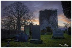 Another Missed Sunset (Mark Edgar) Tags: northernireland coantrim carrickfergus trees goldenlight sunset ruin tombstone headstone cemetery grave graveyard