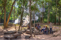 Waldarbeiter in Kambodscha (Janos Kertesz) Tags: forest nature tree jungle travel old architecture stone vacation history culture temple outdoors wood cambodia