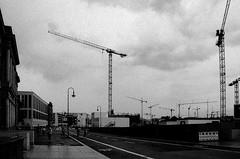 Cranes (Missing Pictures) Tags: travel sky blackandwhite bw white black berlin film monochrome germany construction europe mood eu cranes explore filmcamera traveling explored road