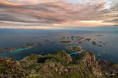 Henningsvaer Overlook - Lofoten Islands (Norway) (Andrea Moscato) Tags: andreamoscato norvegia norge bokmål nynorsk north europe view vivid vista day light luce shadow ombre blue white red yellow cielo sky water sea reflection riflesso art artist clouds nature natura nuvole natural naturale fiordo fiord mountain montagna mare landscape deep path trail trekking hiking history historic panorama monument tourist attraction scogliera cliff rock stones air overlook fishing village city città cityscape island sun sunset dusk tramonto orange road street top evening